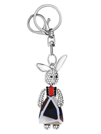 Porte-clés imprimé lapin cristal pendantif