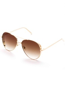 Gold Frame Double Bridge Aviator Sunglasses