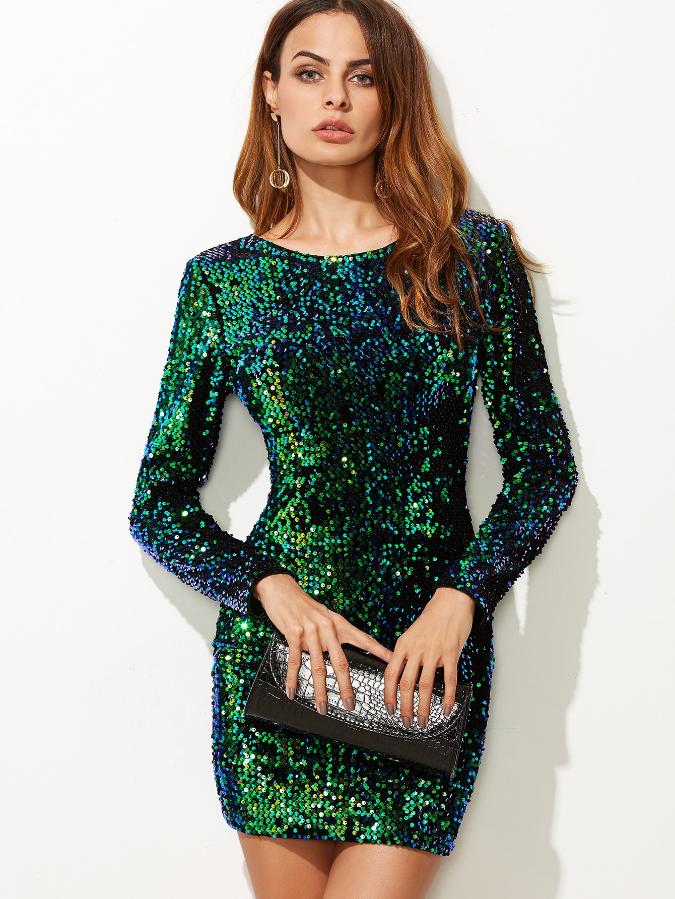 Green Iridescent Long Sleeve Sequin Bodycon Dress -SheIn(Sheinside)