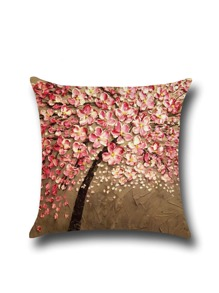 Oil Painting of Plum Flowers Linen Pillowcase Cover