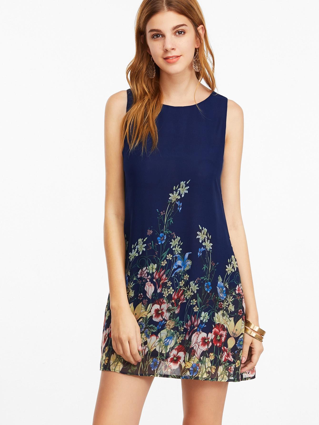 Navy Buttoned Keyhole Back Flower Print Sleeveless Dress