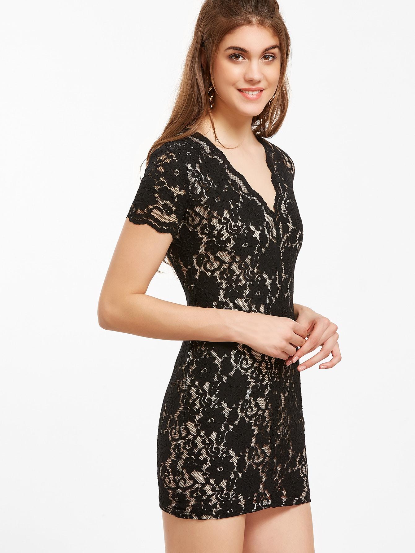 Bodycon Kleid V-Ausschnitt Spitze Ausgebogt-schwarz ...