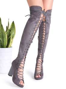 Grey Suede Peep Toe Cross Strap Heeled Knee Boots