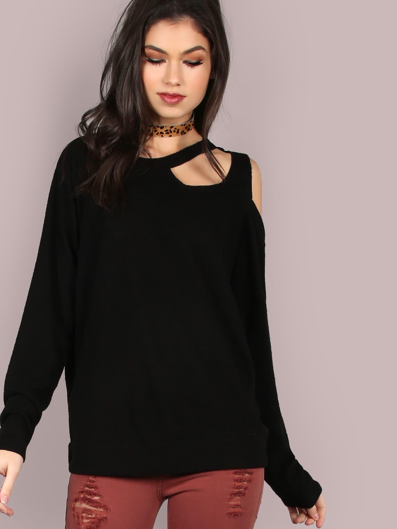 Cut Out Sleeved Soft Fleece Top BLACK sohni wicke джерри агент 8 зарядный