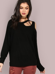 Cut Out Sleeved Soft Fleece Top BLACK