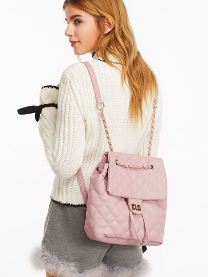 Quilted Flap Chain Mixed PU Strap Backpack