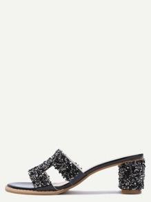 Sandales à talons avec paillettes peep-toe -noir