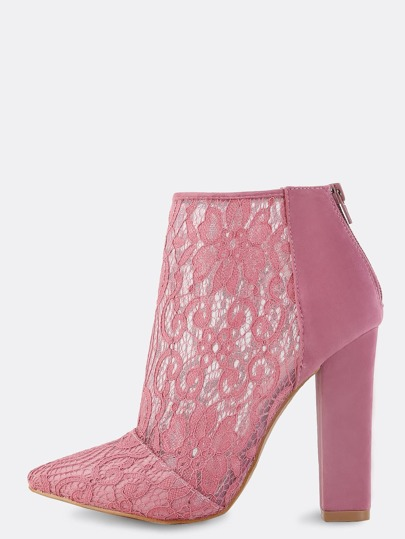 Pointed Toe Lace Ankle Boots MAUVE