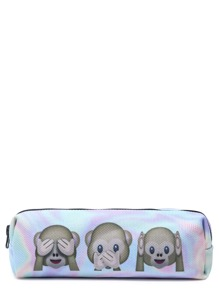 Oxford Fabric Emoji Print Zip Around Makeup Case
