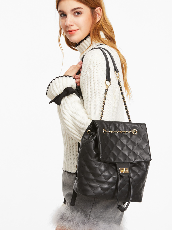 Black PU Quilted Flap Drawstring Backpack, null
