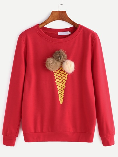 Red Ice Cream Print Pom Pom Sweatshirt