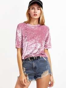 Pink Short Sleeve Crushed Velvet T-shirt