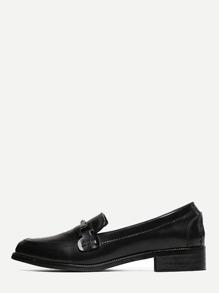 Black Metallic Embellished Slip-on Loafer Flats