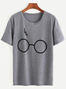 Heather Grey Glasses Print T-shirt