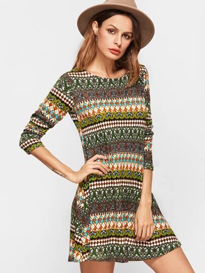 Multicolor Geometric Print A Line Dress