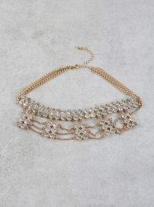 Layered Rhinestone Metallic Necklace GOLD