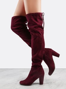 Almond Toe Thigh High Boots WINE