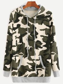 Camouflage Print Drawstring Hooded Sweatshirt With Pocket