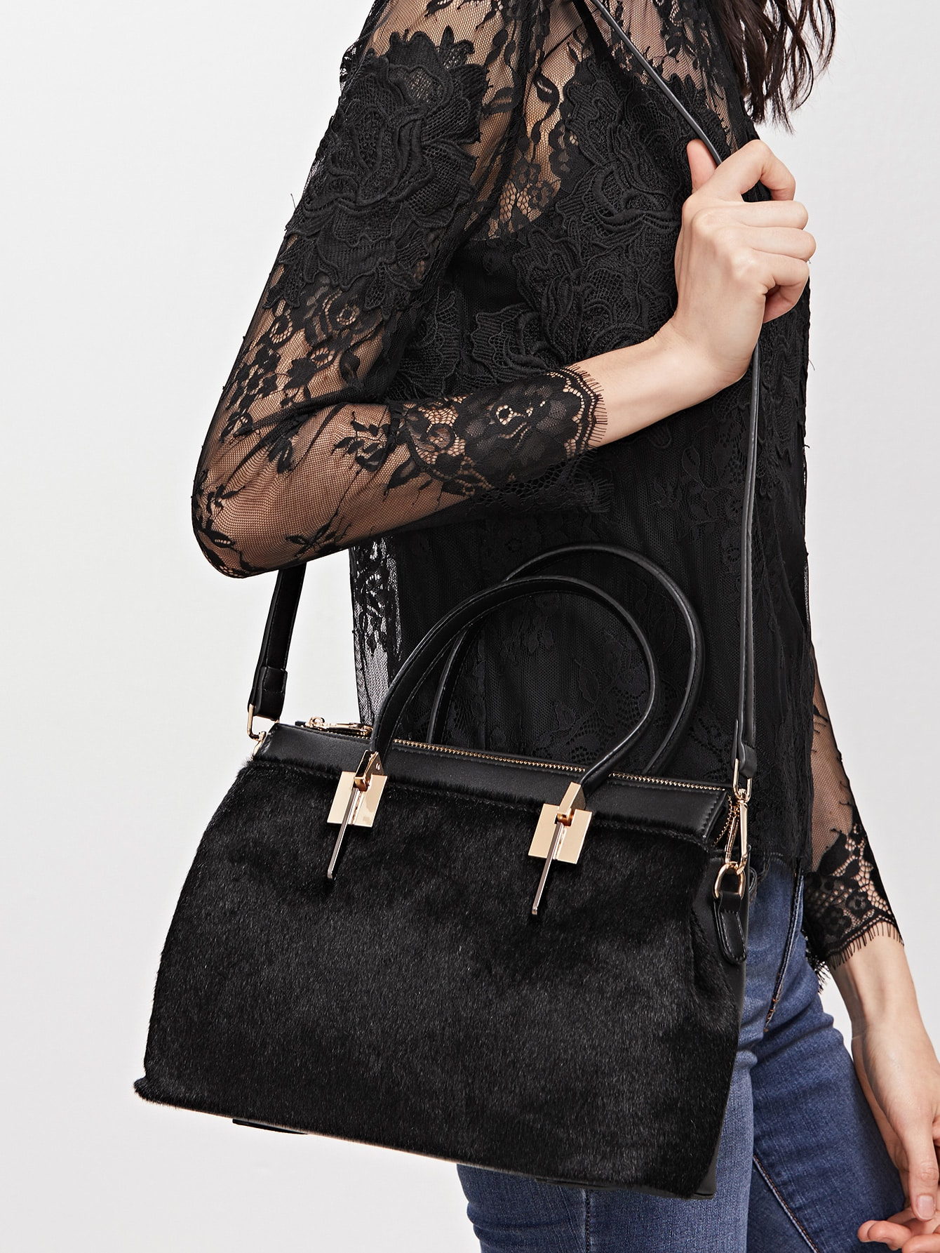 Black Horse Hair Covered PU Shoulder Bag Image