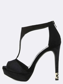 Platform Velvet Stiletto Heels BLACK