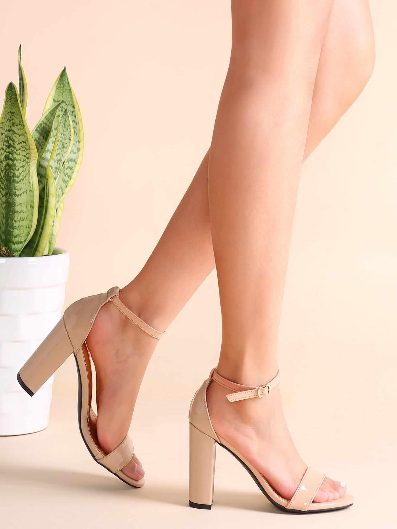 Nude Patent Leather Open Toe Ankle Strap Heeled Sandals shoes161202801