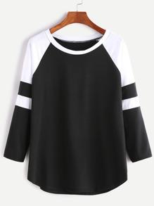 T-shirt manche raglan contrasté - noir et blanc