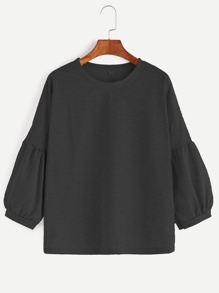 Black Drop Shoulder Lantern Sleeve T-shirt