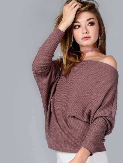 Brown Waffle Knit Asymmetric Shoulder T-shirt