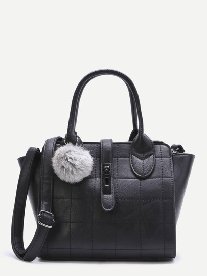 Black Quilted PU Pom Pom Winged Tote Bag with Strap