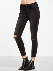 Black Paint Splatter Print Knee Ripped Ankle Jeans
