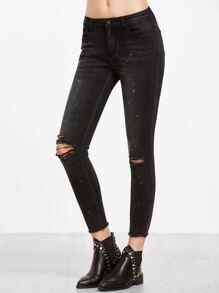 Black Paint Splatter Print Knee Ripped Ankle Jeans