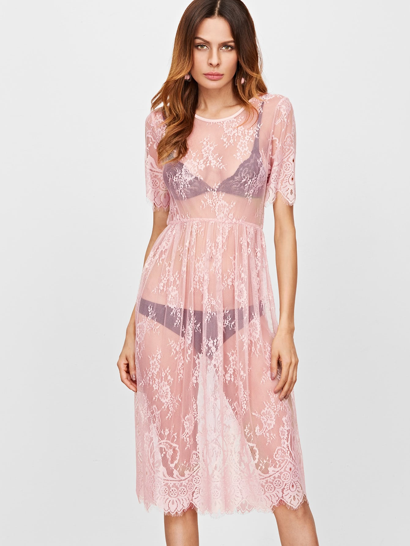 Pink Split Back Sheer Floral Lace Dress