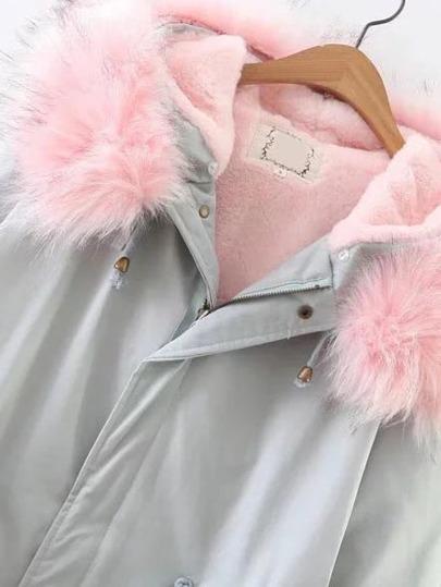 Light Blue Zipper Coat With Faux Fur Hooded -SheIn(Sheinside)