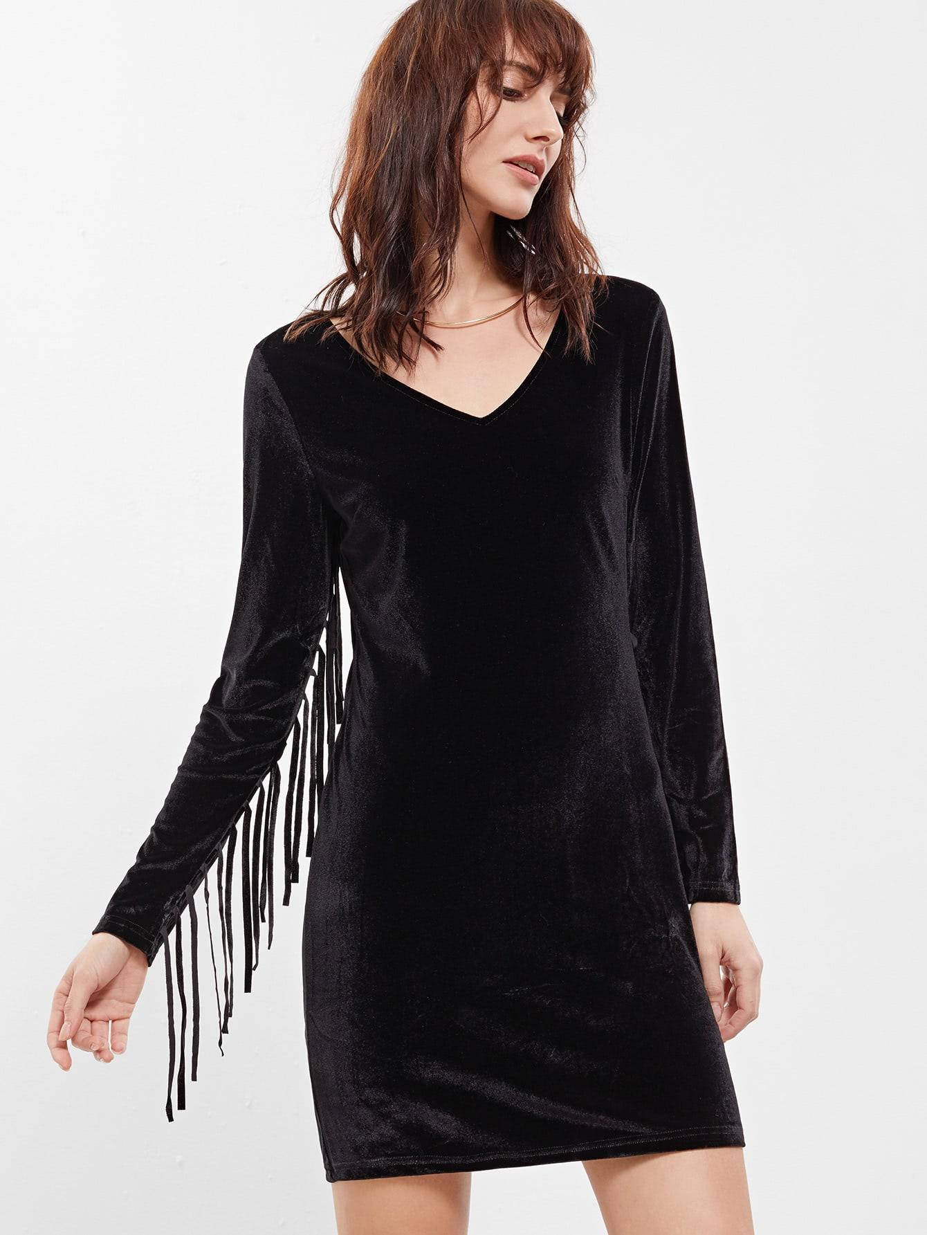Фото Black Long Sleeve Tassel Dress. Купить с доставкой