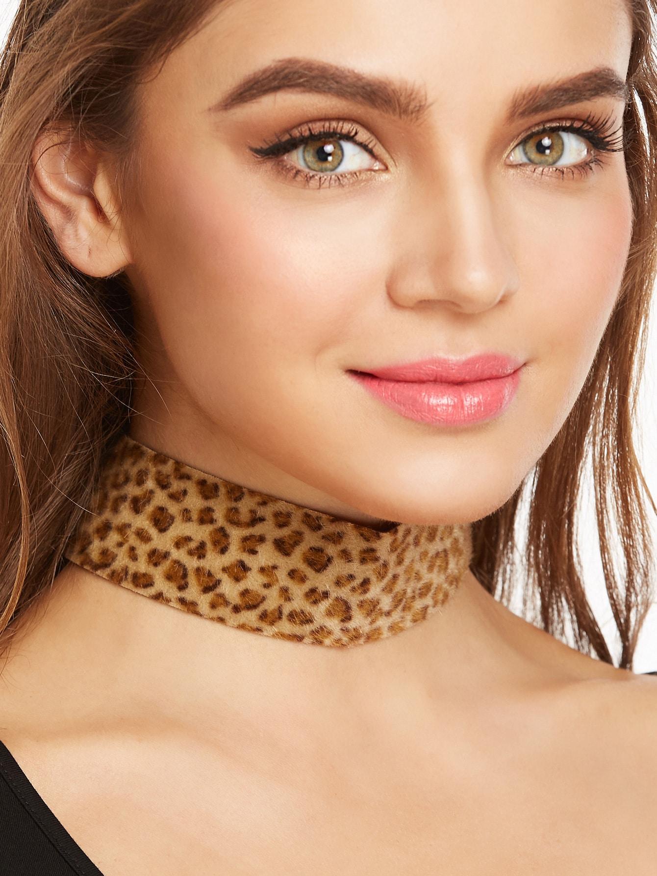 Фото Leopard Pattern Fluffy Wide Choker Necklace. Купить с доставкой