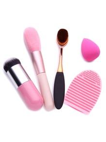 Brosse à maquillage et outils de nettoyage -rose