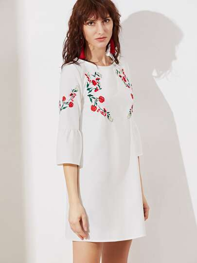 Bell Sleeve Symmetric Embroidered Tunic Dress -SheIn(Sheinside)