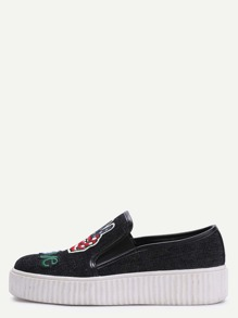 Black Embroidered Rubber Sole Denim Sneakers