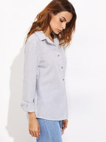 Blue Mixed Striped Button Up Blouse
