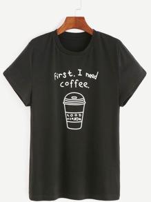 Чёрная модная футболка с принтом кофе