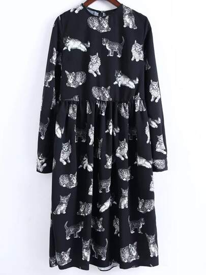 Black Cat Print Knee Length Dress