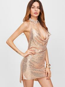 Halter Backless Cowl Neck Sequin Sexy Dress