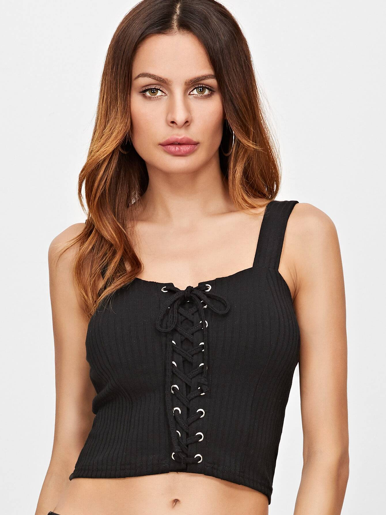 Black Lace Up Front Ribbed Crop Cami Top vest161222001