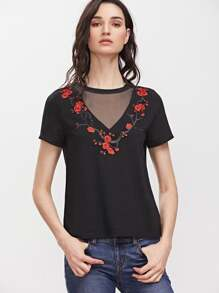 Black Mesh V Neck Embroidered Blossom  Applique T-shirt