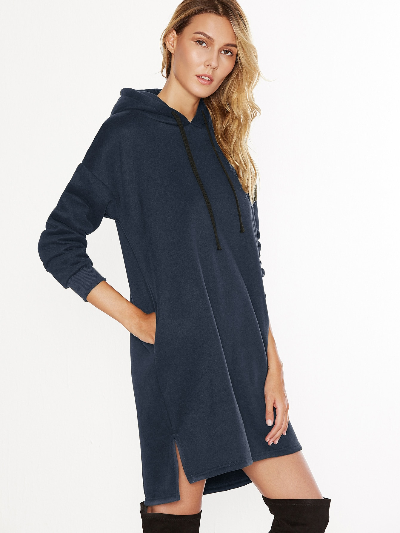Navy Hooded Slit Side High Low Sweatshirt DressNavy Hooded Slit Side High Low Sweatshirt Dress<br><br>color: Navy<br>size: one-size