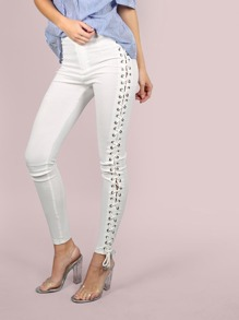 High Waisted Side Laced Pants WHITE