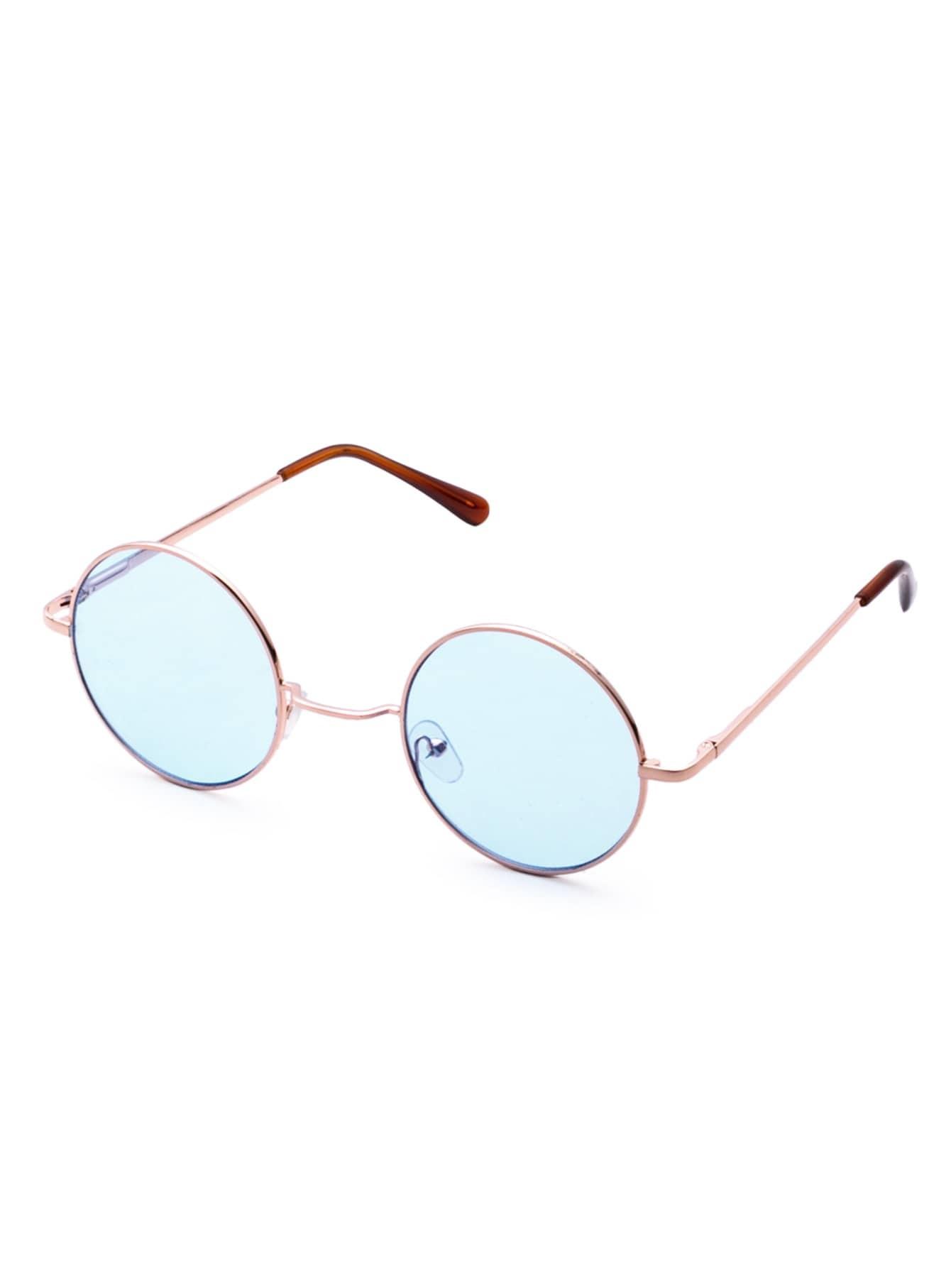 Gold Frame Light Blue Retro Style Round Sunglasses