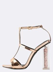 Metallic Glitter Chunky Heels ROSE GOLD