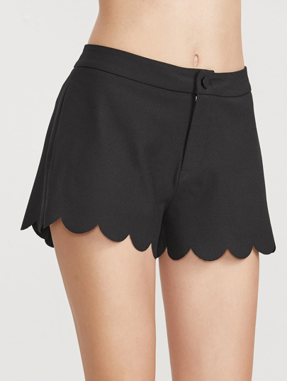 Black Scallop Edge Wide Leg Shorts