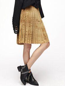 Gold Elastic Waist Pleated Velvet Skirt